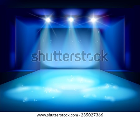 Stage spot lighting. Vector illustration. - stock vector