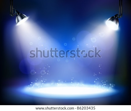 Stage spotlights. Vector illustration. - stock vector