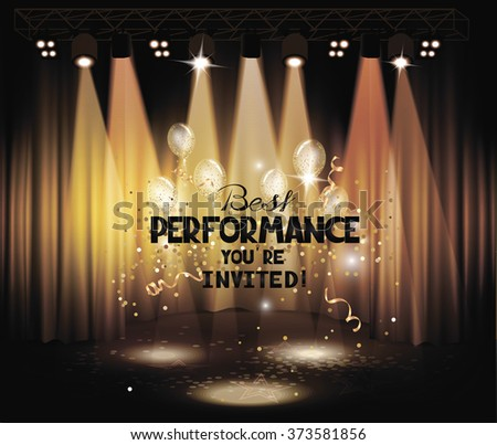 Stage with gold curtains, air balloons and light equipment - stock vector