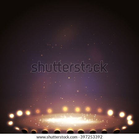 Stage with lights, shine and spotlights magenta. Vector illustration  eps 10 - stock vector