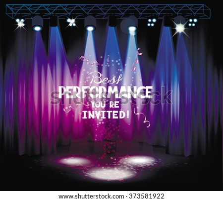 Stage with purple and blue curtains and light equipment - stock vector