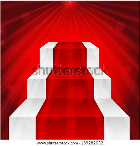 stage with red carpet and the rays of light - stock vector