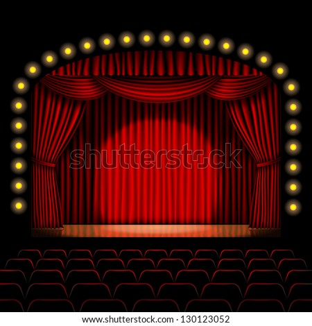 stage with red curtain - stock vector
