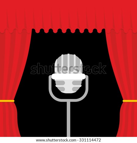 Stage with red curtain and retro microphone. Open theatre curtain. Device for presentations. Accessory lead. - stock vector