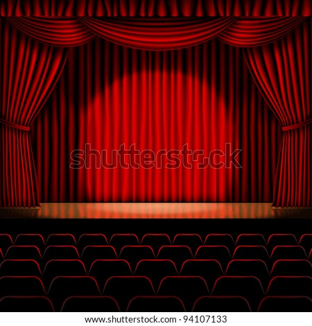 stage with red curtain vector for background - stock vector