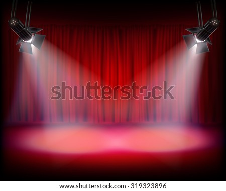 Stage with red curtain. Vector illustration. - stock vector