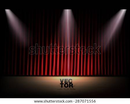 Stage with red curtains and spotlights. Vector