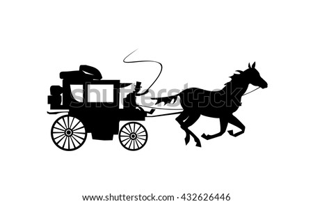 Stagecoach silhouette. Carriage isolated on white background. Old transport. Vector illustration.  - stock vector