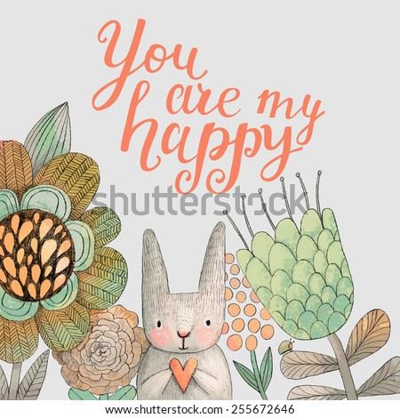 Staggering card with cute rabbit in summer flowers. Awesome background made in watercolor technique. Bright easter concept card with you are my happy text in vector - stock vector