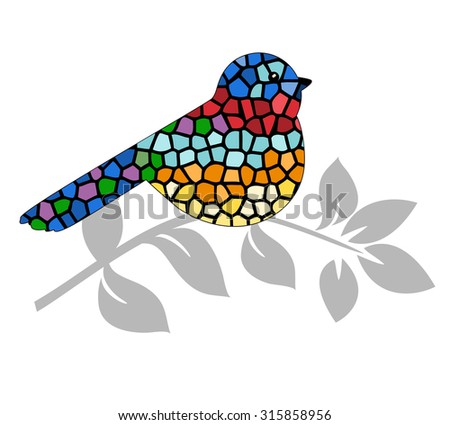 Stained glass bird perched on branch  - stock vector