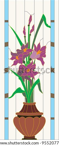 Stained Glass Irises - stock vector