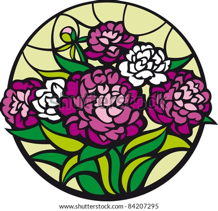 Stained-glass peonies. A bouquet of peonies looks like a stained-glass window. - stock vector