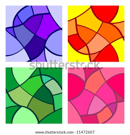 stained-glass seamless pattern set - stock vector