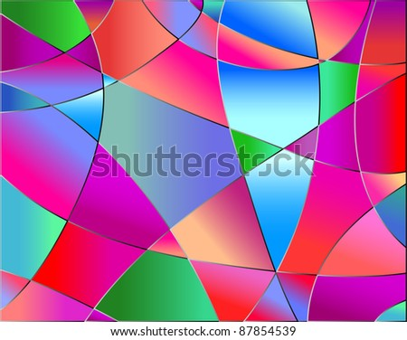 Stained glass texture, red tone, background vector - stock vector