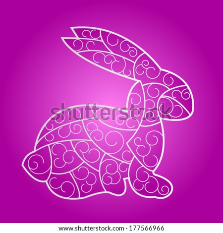 stained-glass violet Easter Bunny - stock vector