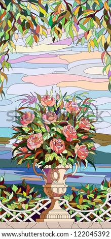 Stained-glass window - a bouquet of roses in a vase - stock vector