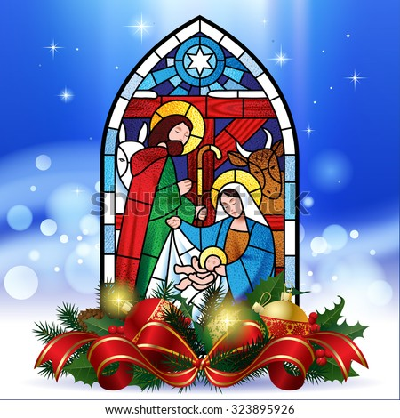 Stained glass window depicting Christmas scene against a luminescent blue background with decorations. Christmas greeting card. Vector illustration - stock vector
