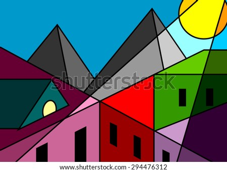 Stained-glass window, roofs of houses and mountain modern style cubism - stock vector
