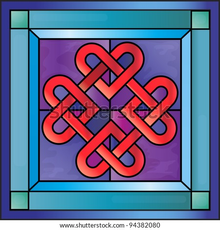 Stained glass with Celtic hearts. EPS10 vector format. - stock vector