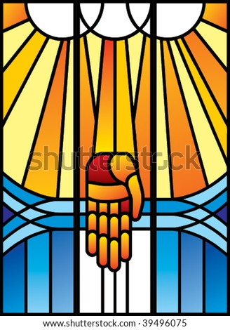 Stained-glass with palm in vector format - stock vector