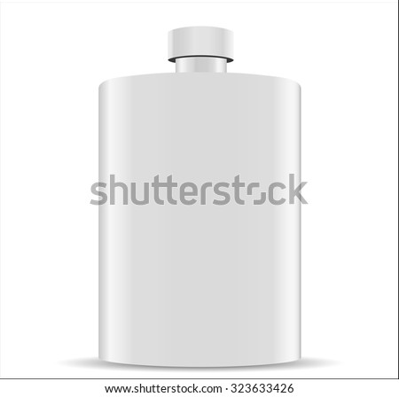 Stainless hip flask isolated on white background - stock vector
