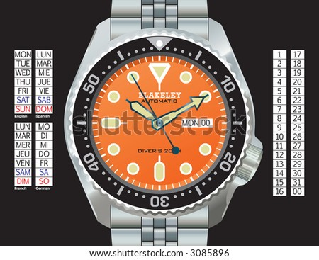 Stainless steel diver's watch in CMYK on separate layers. Time, day (in English, Spanish, French, and German), and date can all be changed. Strap continues under the watch for easy extension. - stock vector