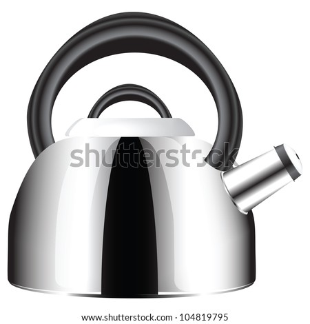 Stainless steel kettle with a whistle in the spout. Vector illustration.