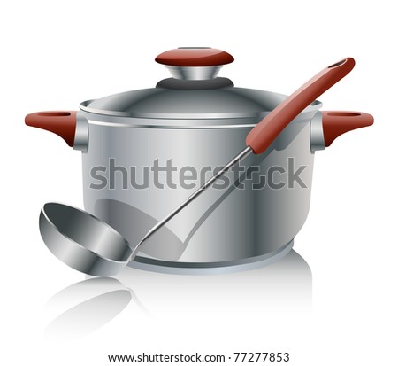 stainless steel pan isolated on white - stock vector