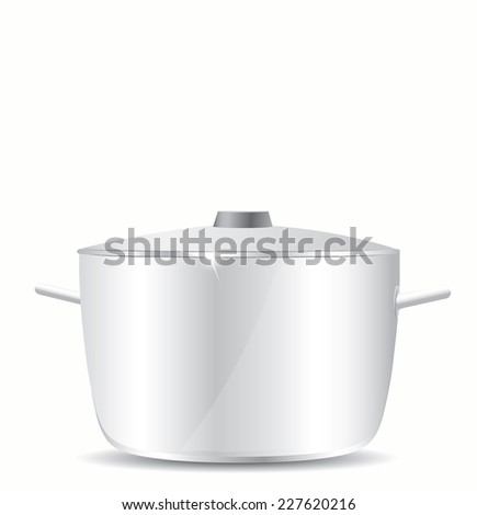 Stainless steel pot without cover  - stock vector