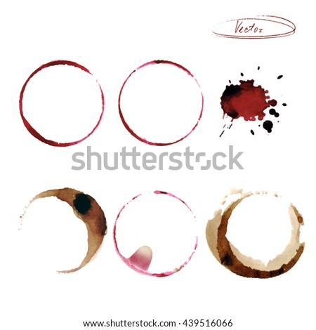 Stains of circles from wine. Imprint. Vector illustration