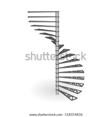 Stair spiral iron 3d with forged steps isolated. Staircase side view.  Vector illustration on a white background.