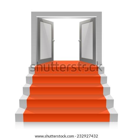 Stair with open doors. Vector illustration - stock vector