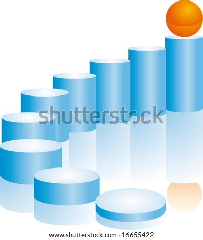 staircase and sphere - stock vector