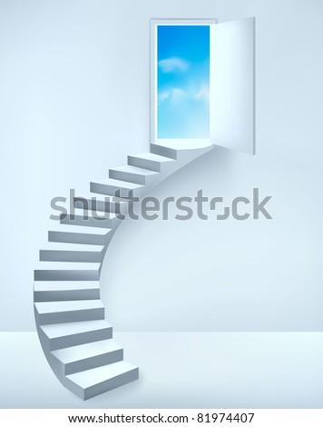 Staircase ending into an open door to a dreamy place. Vector illustration. - stock vector