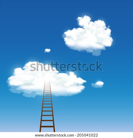 staircase leading to the clouds - stock vector