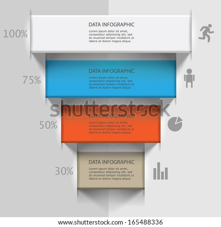 staircase of ribbons / vector illustration for presentation of data / infographics business processes - stock vector