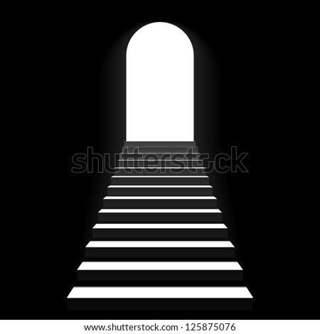 Staircase to arch door. Vector. - stock vector