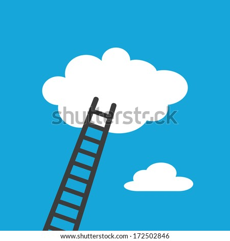 Staircase to the clouds. Concept icon - stock vector