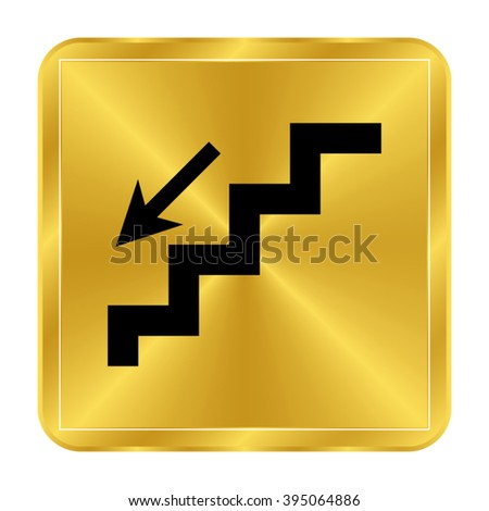 stairs - black vector icon;  gold button