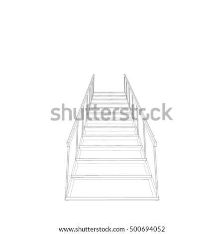 Stairs.Isolated on white background. 3d Vector outline illustration.Bottom view.