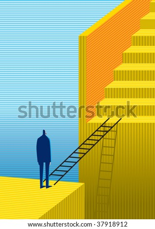 stairs solution - stock vector
