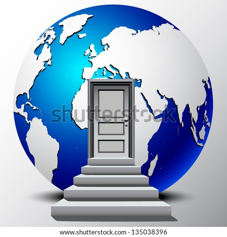 stairway leading into a earth glob - stock vector