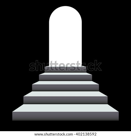 Stairway to the light - exit from the dark. Staircase to arch door - stock vector
