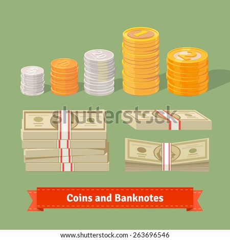 Staked coins with different faces. Strapped and stacked money packs. Flat style vector icons. - stock vector