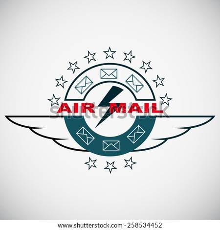 Stamp, Air mail - stock vector