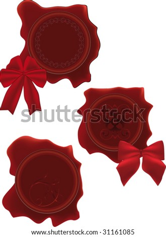 stamp and bows - stock vector