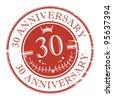 Stamp 30 anniversary, vector illustration - stock vector