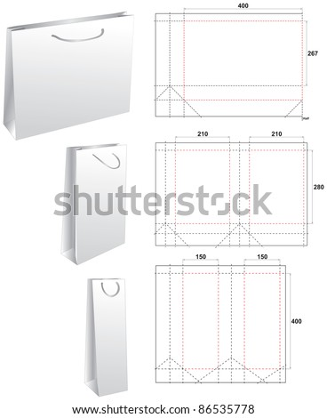 Stamp die paper bags - stock vector