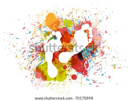 stamp feet on ink colorful splash. - stock vector