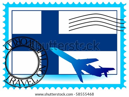 """Stamp """"Finland (Helsinki), travel by plane on the world"""" vector eps10 - stock vector"""